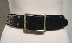 Vintage 1960s-1970s Black Leather Ladies Multicolored Stitched Belt by GoodBuyForNow on Etsy