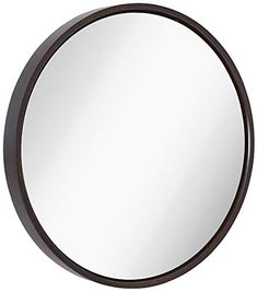 """Clean Large Modern Wenge Wood 24"""" Circle Frame Wall Mirror 