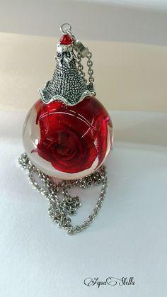Réservée Sylvie bulle résine 3,5cm rose rouge véritable et chaine acier : Collier par aquastella