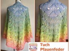 """Tuch """"Pfauenfeder"""" mit 1 Woolly Hugs BOBBEL-COTTON stricken"""