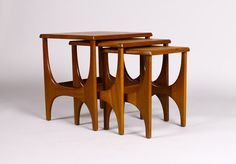 Vintage Mid Century Danish Modern Teak Nesting Tables (set of – Sculpted leg design Danish Modern Furniture, Mcm Furniture, Scandinavian Furniture, Classic Furniture, Mid Century Modern Furniture, Furniture Styles, Unique Furniture, Rustic Furniture, Contemporary Furniture
