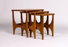 Vintage Mid Century Danish Modern Teak Nesting Tables (set of – Sculpted leg design Danish Modern Furniture, Mcm Furniture, Scandinavian Furniture, Farmhouse Furniture, Classic Furniture, Mid Century Modern Furniture, Furniture Styles, Unique Furniture, Rustic Furniture