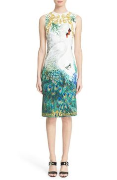 Versace Collection Placed Swan Print Sheath Dress available at Floral Sheath Dress, Coral Dress, Sheath Dresses, Off White Dresses, Dresses For Work, Butterfly Print Dress, Peacock Dress, Champagne Dress, Nordstrom Dresses