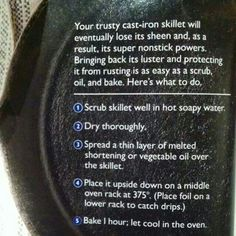 How to re-season a  cast iron skillet