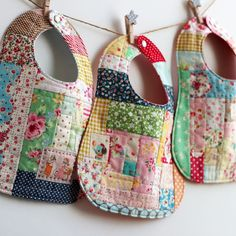 patchwork love - three scrap-happy bibs by nanaCompany. no diy