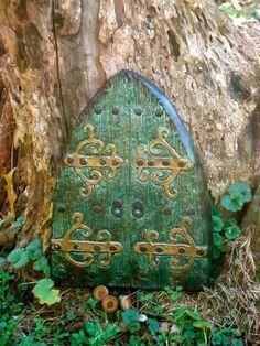 Large Medieval Fairy Door  95 L x 55 Dark Mossy Green  by Nirkin, $14.99