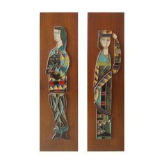 """something about these enameled figures... i really like them. they were made in the bronx in the 1950s by this artist. thinking i have good taste bc a lot of artwork i really attach to is always waaaay to much for us to afford.  """"Harris Strong Plaques Pair, $1,848"""""""