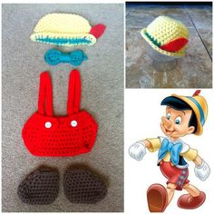 Crochet Disney's Pinocchio Outfit (hat, diaper cover w/suspenders, a bow-tie and booties) on Etsy, $25.00