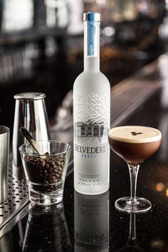 Espress Your Love Cocktail - Belvedere Vodka, chilled espresso, vanilla infused simple syrup & a dash of cream!