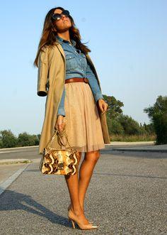denim/skirt