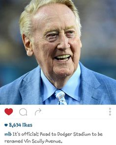 THINK BLUE: And all is right w/the world! Dodgers to rename road to Dodger Stadium #VinScullyAve! As it should be!! #legend #VinScully #Dodgers by oaklandassocksgirl