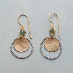 ZENDO EARRINGS - Swaying serenely beneath green apatite, a dimpled 14kt gold-filled disk evokes the aesthetic of a Japanese gong.