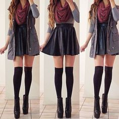 thigh high knee socks with flare skirt | ... skirt, maroon infinity scarf, oversized vest, thigh-high socks