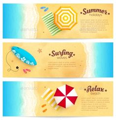 Set Of Summer Travel Banners With Beach Umbrellas