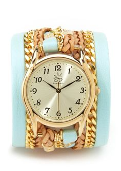 SARA DESIGNS Leather and Chain Wrap Watch