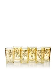 55% OFF Found Objects Set of 6 Punto Moroccan Glasses (Yellow)