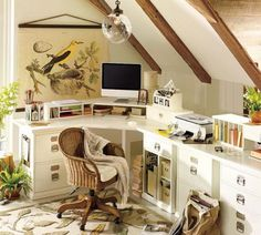 (I like this built in--bright and white (yet warm) with lots of surface space and lots of cubbies & drawers for stashing supplies and stuff) Smart Home Office Designs for Small Spaces