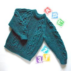Traditional hand knit child's crew neck Aran Fishermans sweater - jumper - Teal / dark Turquoiseby ACrookedSixpence - READY TO SHIP
