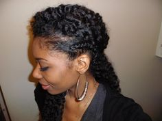 Chime's twist out with a braid. Very cute!