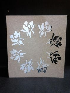 rosebuds in a circle cut out card
