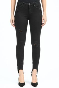 Articles of Society Stephanie Step Hem - Black from Chocolate Shoe Boutique Articles Of Society Jeans, Shoe Boutique, Destruction, Black Jeans, Spandex, Content, Legs, Chocolate, Fabric