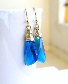 Bridal Earrings Swarovski Cobalt Blue Wing Briolette by SomsStudio, $26.00
