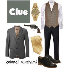 Colonel Mustard 1 - Clue by b-scottyer on Polyvore featuring Gucci, Rolex, Giorgio Armani, Ted Baker, River Island, Brioni and Revolver
