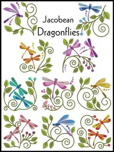 Machine Embroidery dragonflies