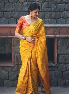 Online shopping of saree, latest saree designs, saree collection online. Grab this beauteous yellow classic saree for ceremonial and festival. Patiala Salwar, Banarasi Sarees, Lehenga Choli, Anarkali, Bandhani Saree, Lehenga Blouse, Sarees Online India, Silk Sarees Online, Yellow Saree