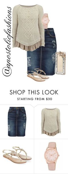"""Apostolic Fashions #1384"" by apostolicfashions on Polyvore featuring Current/Elliott, HIGH, Monsoon and Nine West"