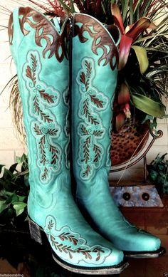 Tall Lane Western Boots Womens Amber Turquoise Brown Cowboy Boots | eBay