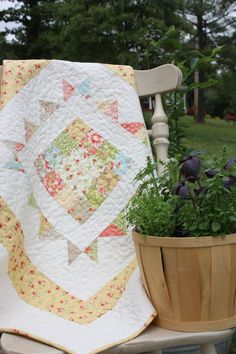 Baby Girl Quilt - in the California Girl Fabric Collection by Fig Tree Quilts Baby Girl Quilts, Girls Quilts, Quilting Projects, Quilting Designs, Sewing Projects, Baby Quilt Patterns, Tree Quilt, Baby Comforter, Easy Quilts
