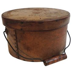 Early 19th Century Mustard Pantry Box with Bail Handle | From a unique collection of antique and modern primitives at https://www.1stdibs.com/furniture/folk-art/primitives/
