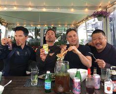 Forks, tongs, cans + bottles + a Wong... Help us #healthenet #afeastoffriends #AvengersInfinityWar #beardbros #sciencebros #benedictsquared June 21 2017