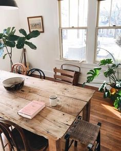 vintage wood dining table