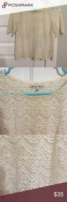 Madewell Lace Scallop Top Great condition and sold out online. Slight discoloration around the neckline from makeup, just needs to be dry cleaned! Madewell Tops Blouses