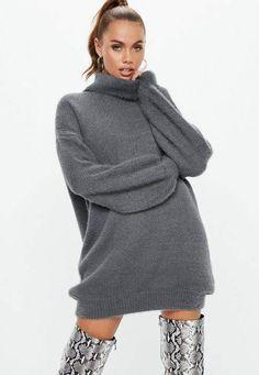 2fc986541 Missguided Premium Grey Fluffy Turtle Neck Sweater Dress