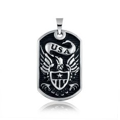 Bling Jewelry Stainless Steel America USA Eagle Star Shield Dog Tag Pendant