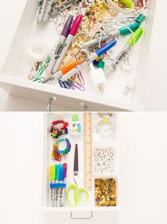 Are you trying to find perfect craft storage ideas to steal? These Craft Room Organization ideas are going to give you a perfectly organized space with ALL of your supplies to hand. Finally.. get that junk drawer ORGANIZED. Brit Co did an awesome job of organizing their Junk Drawers with velcro ties & mini drawer dividers. #organized #organizationideas #homeofficeideas #craftroom #craftstorage #storage #homeoffice #sewing #craftstudio #hhmuk