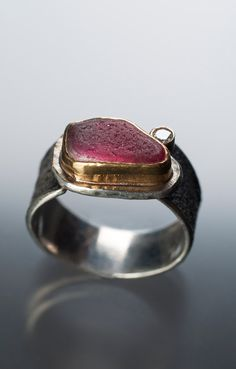 Pink Sea Candy ring-sea glass with diamond, photo by Marcy Merrill