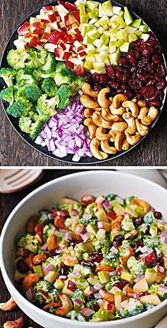 Broccoli Cashew Salad with Apples, Pears, and Cranberries is tossed with the most delicious homemade creamy salad dressing. This is an easy and healthy recipe packed with fruits and veggies. The salad has an amazing Healthy Salads, Healthy Eating, Healthy Recipes, Healthy Food, Yummy Food, Mayonnaise, Creamy Salad Dressing, Pear Salad, Macaroni Salad