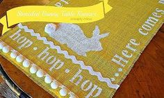 diy no sew stenciled easter bunny yellow burlap table runner, crafts, easter decorations, seasonal holiday d cor