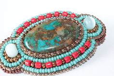 Barrette with Chrysocolla in Blue Copper and Red. by Biserinka