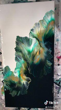 Diy Canvas Art, Diy Wall Art, Green Canvas Art, Abstract Canvas Art, Abstract Paintings, Pintura Graffiti, Diy Resin Art, Diy Painting, Pour Painting