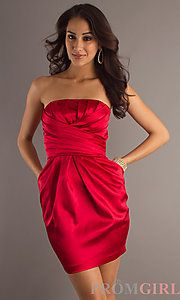 Buy Short Holiday Red Party Dress at PromGirl