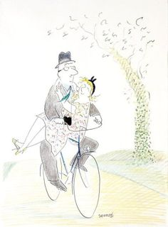 DE JEAN - JACQUES SEMPE........SOURCE BING IMAGES.......... Snoopy Happy Dance, Kitty Crowther, French Cartoons, Ronald Searle, Couple Art, Picture Design, Character Inspiration, Cute Pictures, Modern Art