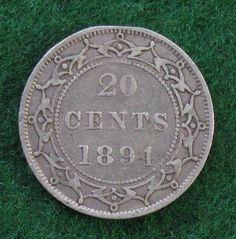 1894 Newfoundland Canada Twenty Cents 20c Silver, *VF*;  KM # 4
