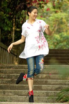 Women Blouse Shirt Top Summer Custom Size Tops by MissLinen