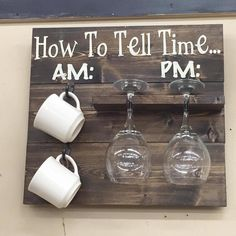How to tell time- coffee cup and wine glasses