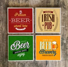 Vintage, rustic & unique handcrafted home decor. This set of vintage beer label drink coasters are a ceramic coaster with a print design. Beer Coasters, Ceramic Coasters, Irish Pub Decor, Irish Drinks, Premium Beer, Happy Hour Drinks, Drink Labels, Beer Brewery, Beer Label